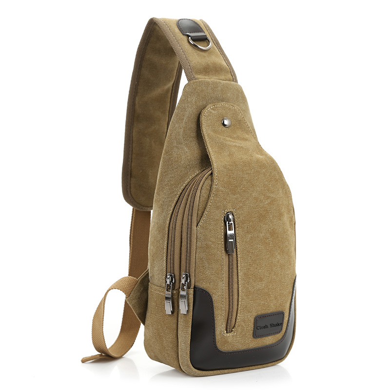Cloth Shake 2017 New Casual Men's Canvas + PU Leather Solid Multi Pockets Messenger Shoulder Bag Day pack Sling Chest Pack Bag