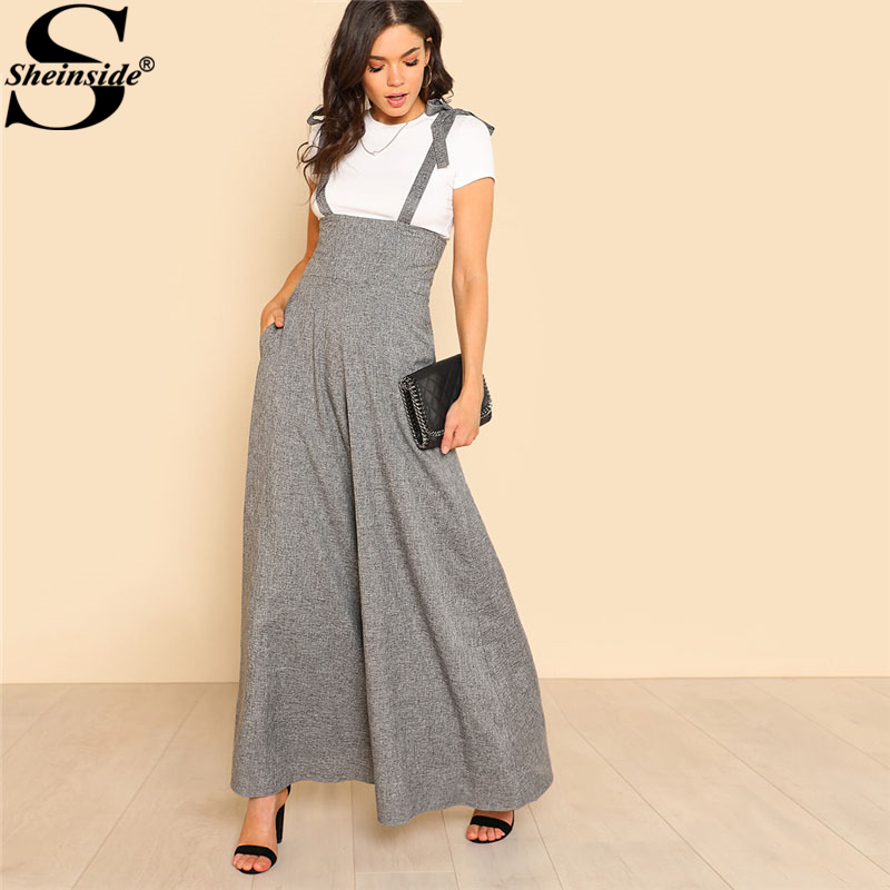 Sheinside Self Tie Strap Wide Leg Jumpsuit Grey Sleeveless High Waist Office Ladies Workwear Jumpsuit Women Elegant Jumpsuit