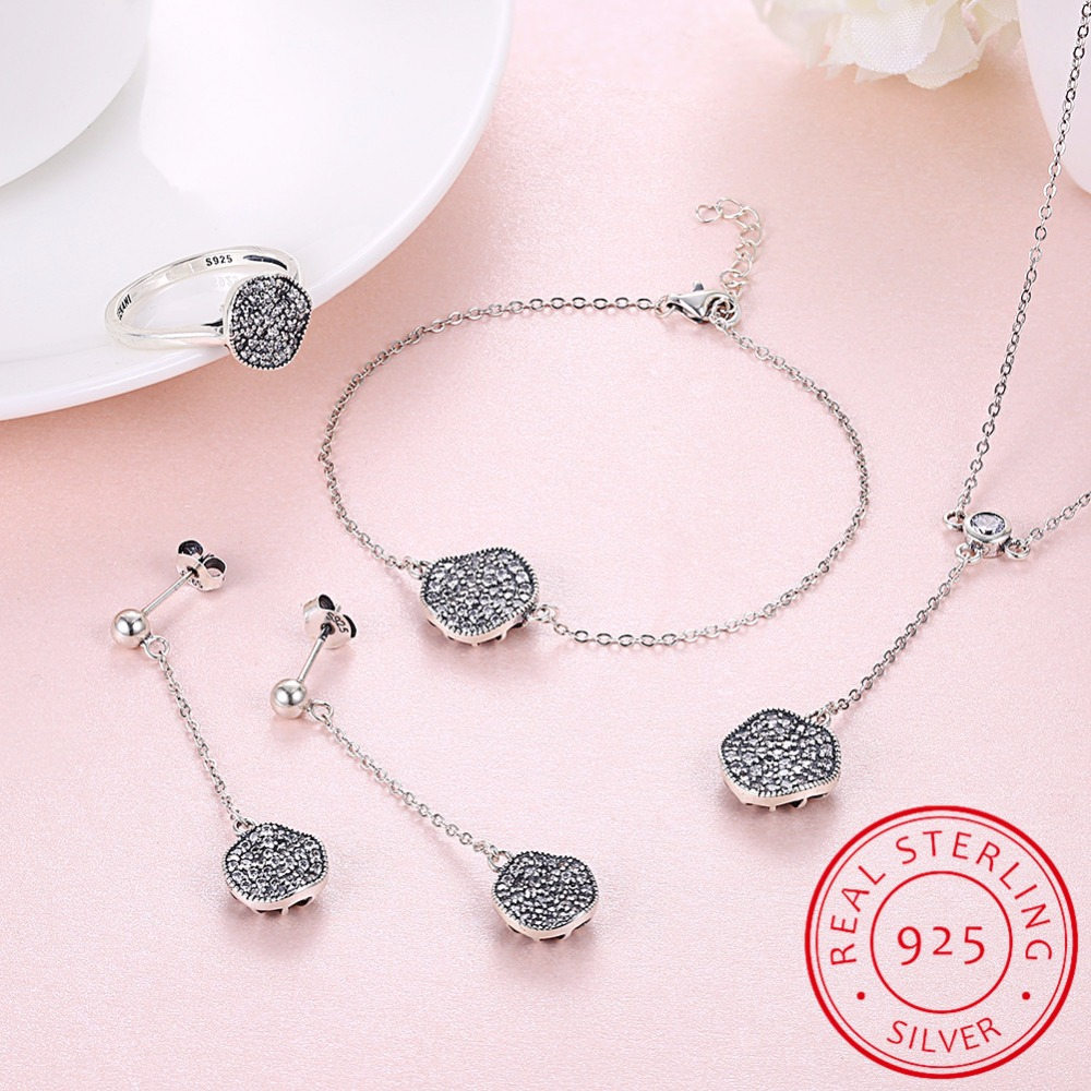 Genuine 925 Sterling Silver Women Jewelry Sets Simple Round Design AAA Cubic Zirconia Party Necklace Earring Bracelet Ring