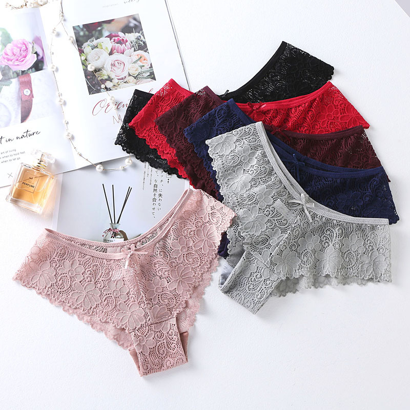 3pcs/lot Lace   Panties   For Women Seamless Briefs Set Lingerie Underwear Low Waist Cotton   Panty   Hip Up Female Underpants #F