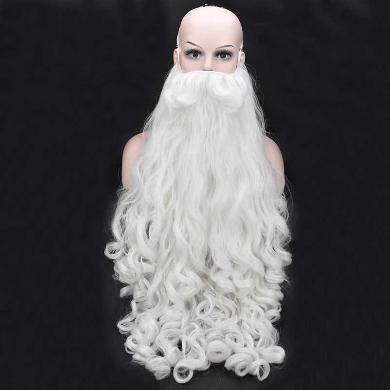 Morematch คริสต์มาสของขวัญ Santa Claus วิกผมและเคราสังเคราะห์ผมสั้น COSPLAY Wigs สำหรับชายสีขาว Hairpiece อุปกรณ์เสริมหมวก