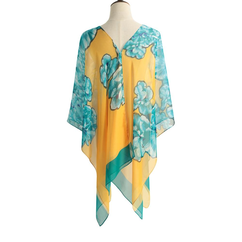Floral Contrast Colors Scarf | Lightweight Scarves