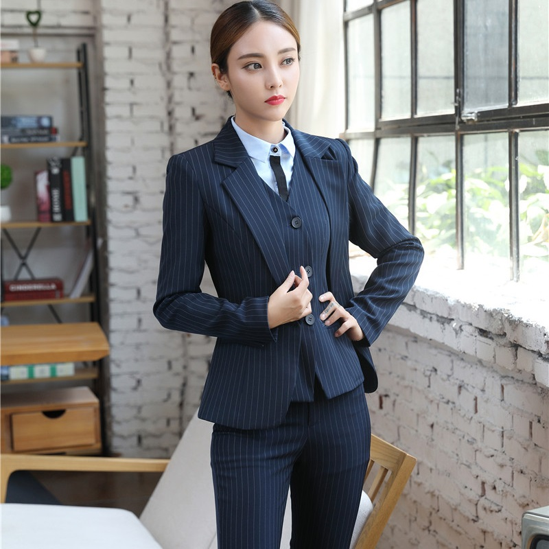 Dark Blue Striped Pantsuits With 3 Piece Jackets + Pants + Vest For Ladies  Office Business Work Wear Blazers Sets Uniform Styles-in Pant Suits from  Women s ... d471e88b7