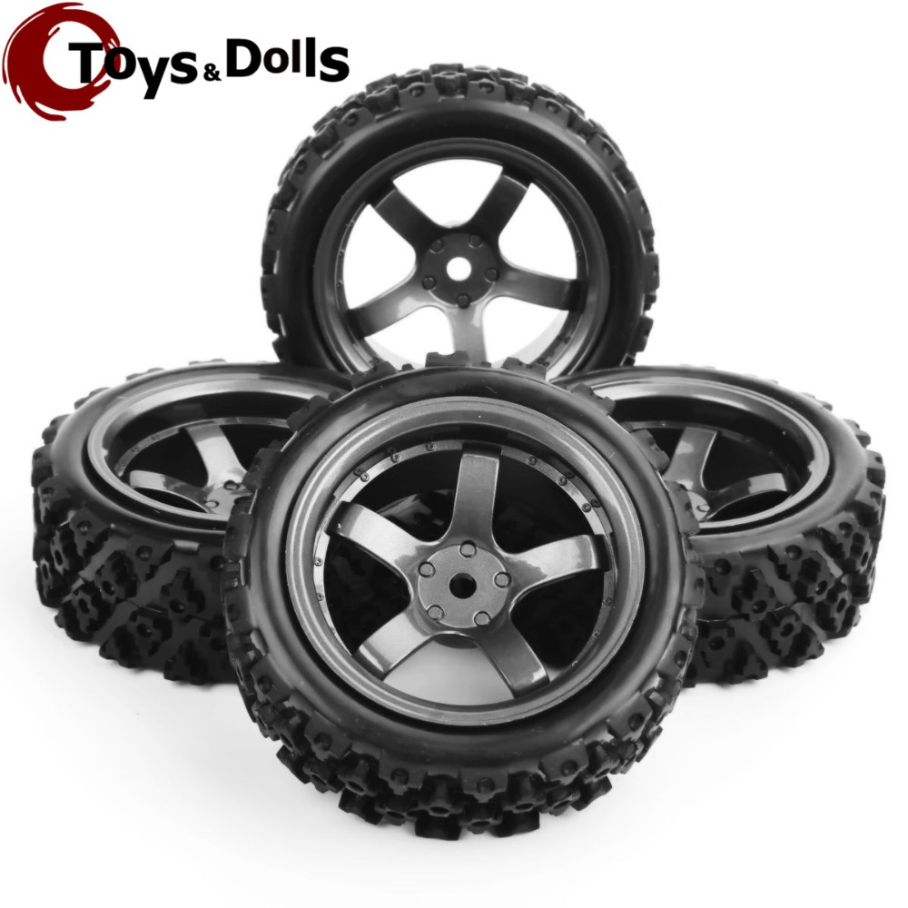4 pcs 1/10 RC Car Tires And Wheels 12mm Hex Rc Rally Off Road Car Rubber Tyres&Wheel Rim Plastic For Model Toys Car Accessories delicate rhinestone leaf shape cuff bracelet for women
