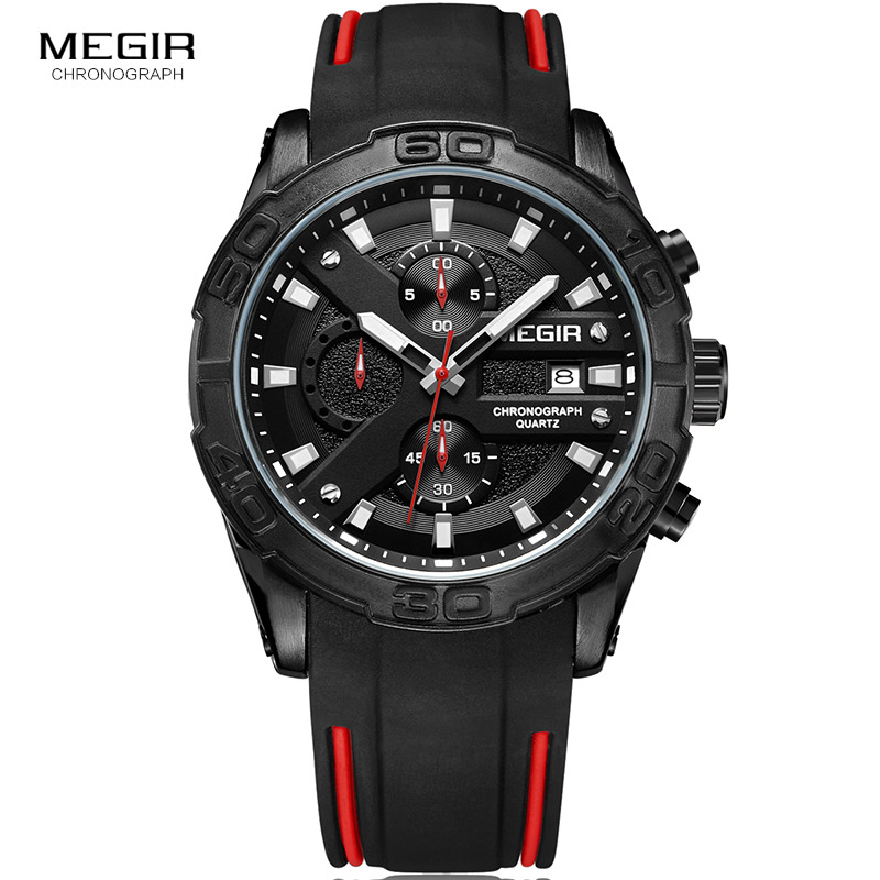 Image 3 - MEGIR Mens Fashion Sports Quartz Watches Luminous Silicone Strap Chronograph Analogue Wrist Watch for Man Black Red 2055G BK 1Quartz Watches   -