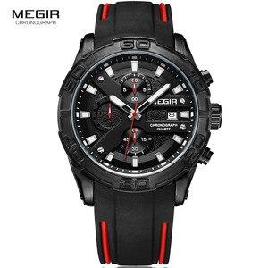 Image 3 - MEGIR Mens Fashion Sports Quartz Watches Luminous Silicone Strap Chronograph Analogue Wrist Watch for Man Black Red 2055G BK 1