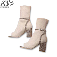 2018 Ankle Boots For Women Leather Boots Luxury Designer Socks Shoes Short Female Knitting Weave Fashion