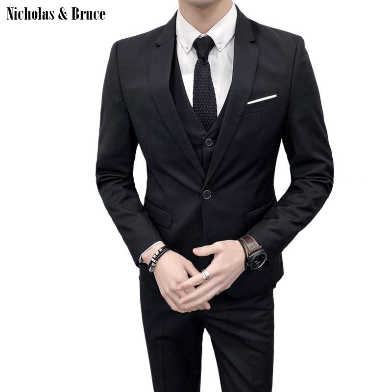 N&B (Jacket+Pant+Vest) Men Wedding Suit Male Blazers Slim Fit Suits For Men Costume Business Formal Party Classic Black SR26