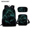 Рюкзак instantartts  3 шт. в комплекте  для девочек и мальчиков  крутой  с изображением животных  драконов  динозавров  школьная сумка  ранец  ежедне...