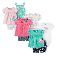 New Summer 2018 Baby Girl Clothing Princess 3 Pieces Infant Girls Clothes Sets 6M 24M Outfit
