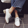 Plus Size 34-43 New fashion Lace Up women shoes Genuine Leather Round Toe Strange Style pearl heels Creepers Woman oxfords shoes