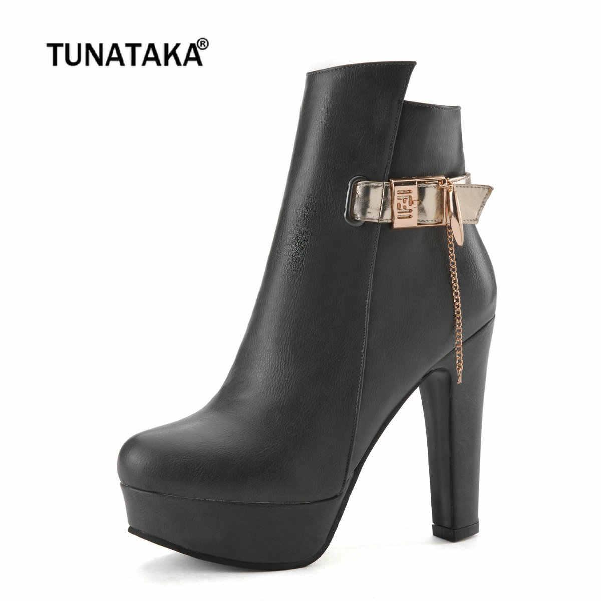Kadın yarım çizmeler Platformu Tıknaz Yüksek Topuk Çizmeler Moda Toka Zip Kış Kadın Botları Gri Siyah Beyaz Bayan Bot Ayakkabı
