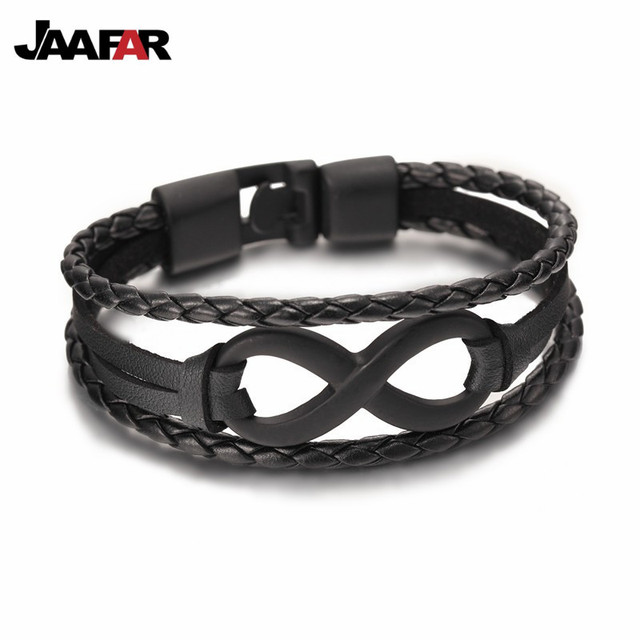 Whole New Fashion Black Plated Infinity Bracelet Genuine Leather Hand Chain Alloy Buckle Friendship