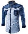 Calças de Brim dos homens Camisas Xadrez de Manga Longa Denim Camisa Dos Homens de Moda Popular Único Breasted Cowboy Shirt M-XXXL UC819