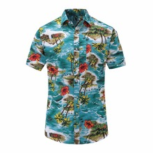 Plus Size 5XL 2018 New Summer Mens Short Sleeve Hawaiian Shirts Cotton Casual Floral Shirts Wave Regular Mens Clothing Fashion