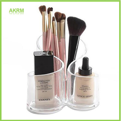 3 Compartment Clear Acrylic Makeup Brush Holder Office Pencil Organizer Cosmetic Lipbrush Eyeliner Storage Holder