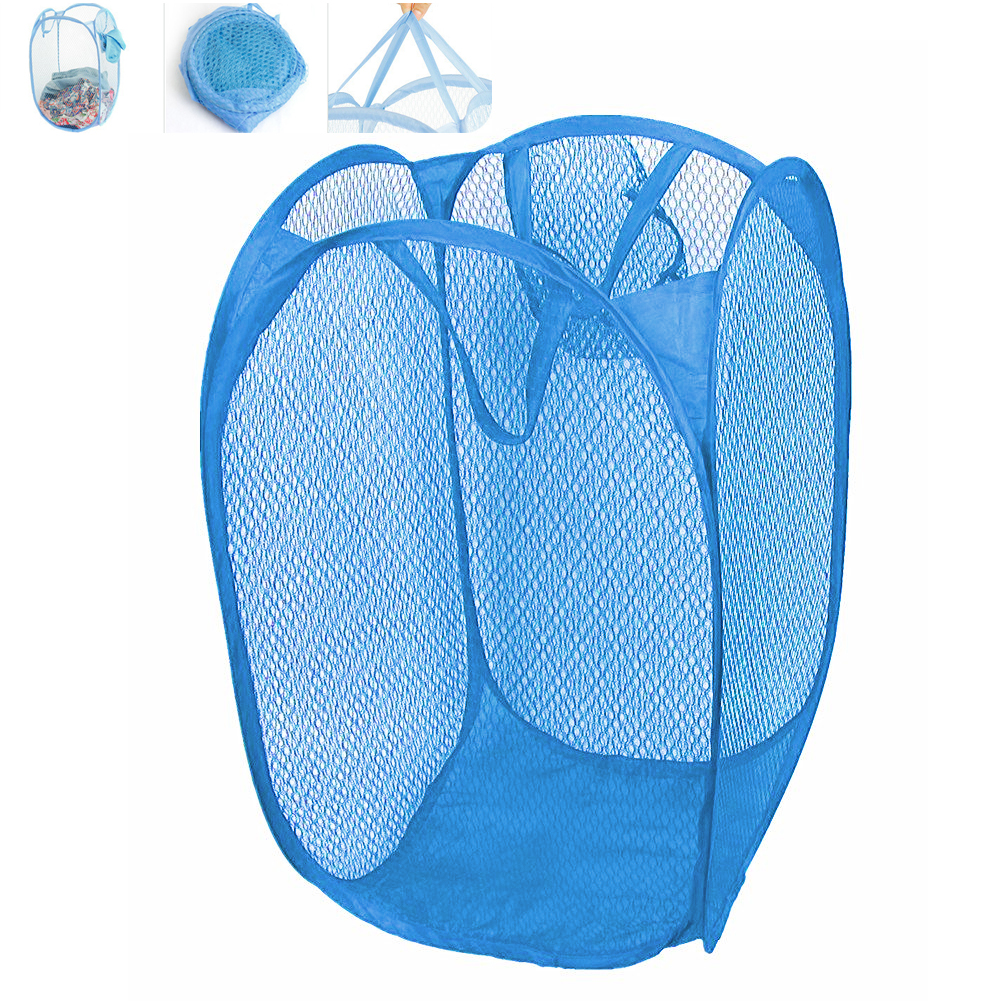 2Pcs Foldable Laundry Mesh Pop Up Laundry Hamper Dirty Clothes Holder Case Collapsible Clothes Laundry Basket Blue (Large Size)