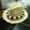 Nuevo Verano ala grande dom paja sombreros de Panamá playa mujeres protección UV Cap Colorido bola de pelo de la manera Headwear Accesorios de Regalo