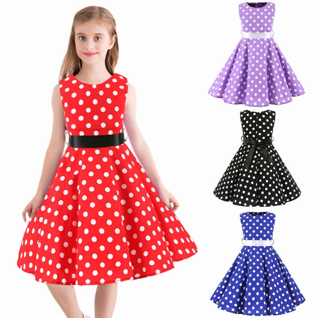 Children Dresses Kids Girl Vintage 1950s Retro Sleeveless Dot Print Casual Dress Kids Dress for Girls Fashion Girls Clothing