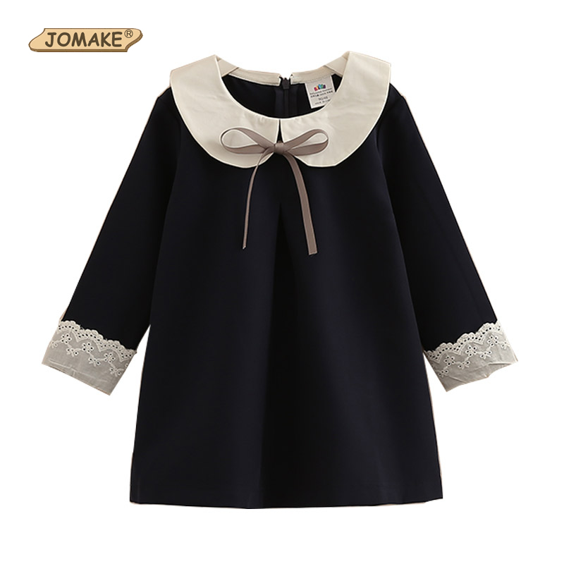 JOMAKE Girls Dress 2018 New Spring Brand Children Clothes Bow School Baby Girl Princess Dress 2-12 Years Kids Dresses For Girls children s spring and autumn girls bow plaid child children s cotton long sleeved dress baby girl clothes 2 3 4 5 6 7 years
