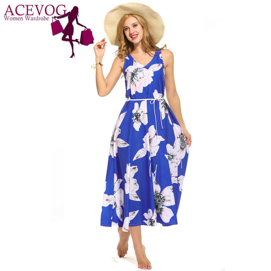 ACEVOG женское свободное платье Лето v-образный вырез Высокая талия без рукавов цветочный принт вечерние длинные качели платья макси бренд Feminino Vestidos