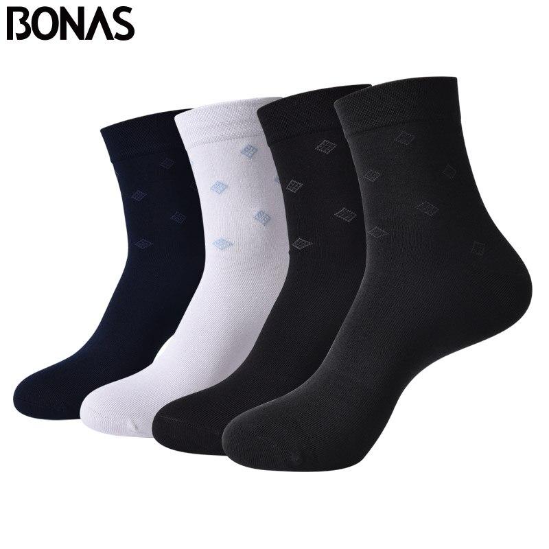 BONAS 2018 New 4pairs Men Bamboo Fiber Socks High Quality Breathable Cotton Sock Deodorant Socks Man Business Socks 02303