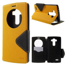 2015 New Roar Korea Diary Circle Window Leather Case for LG G4 Smart Window View Wallet Flip Cover Case