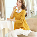 Korean Plus Size Chiffon Knitting Two Piece Suit Fashion Yellow Sweater + Casual White Skirt Super Beatuful Collocation Clothes