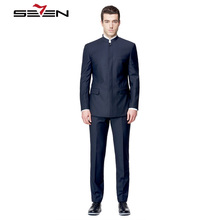 Seven7 Tailor Made Men Suits Blazer Chinese Style Mandarin Collar Fashion Suits High Custom Made Suits (2 Pieces,Top and Pant)