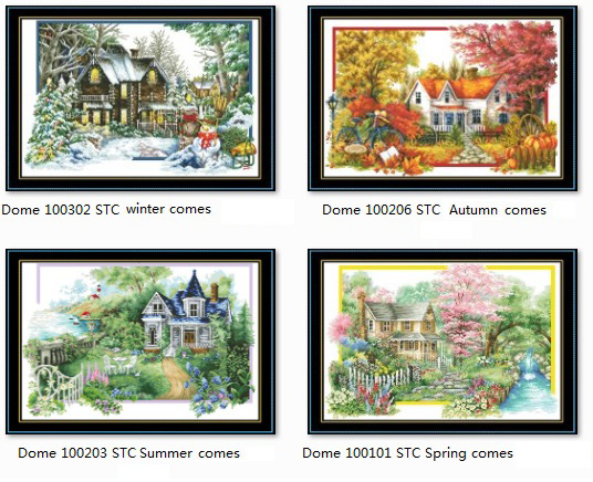 Gold Collection Counted Cross Stitch Kit Dome Spring Summer Autumn Winter Comes Four Seasons Season Comes House Home Town