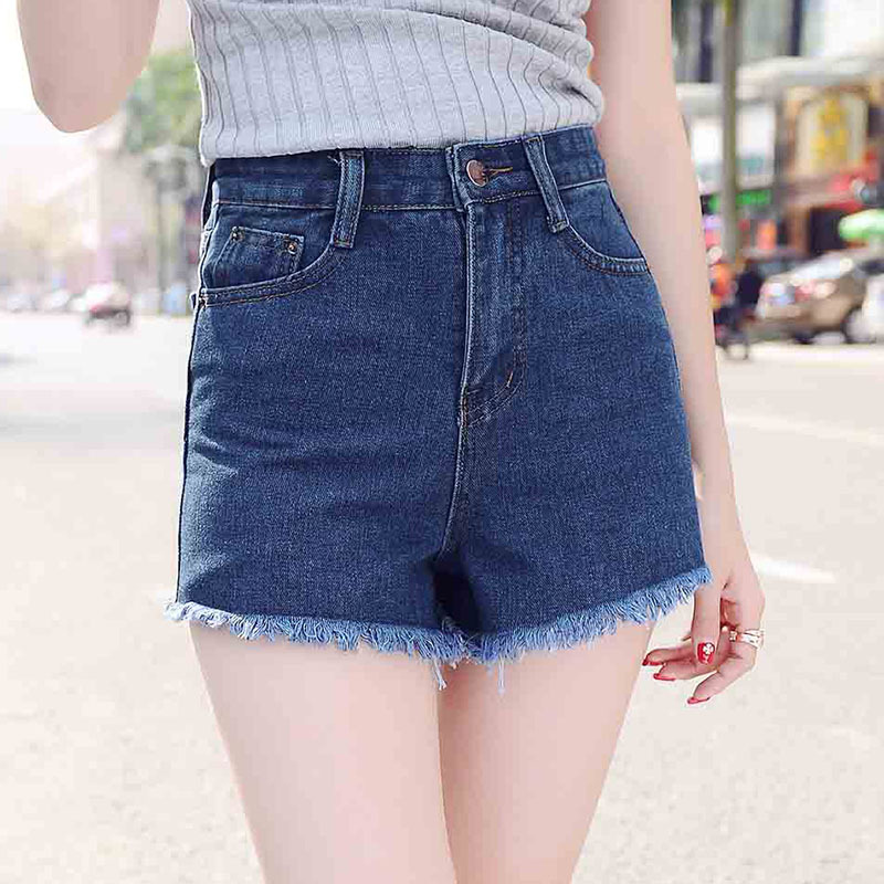 2016 summer new denim shorts female high waist shorts loose big yards thin burr wide leg Casual Women Short Jeans S2081