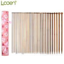 36PCS Looen New Knitting Needles 35CM(13.78in) Bamboo 18 Sizes For Needle Crochet with Pink Bag Beginner