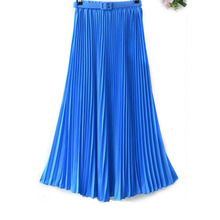 New Women's Pleated Retro Maxi Long Skirt Elastic WaistBand Belt Chiffon Dance Skirt LS8