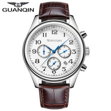 GUANQIN GQ25 Fashion Mens Watches Top Brand Luxury 24 Hours Date Clock Waterproof Men's Leather Quartz Watch Relogio Masculino