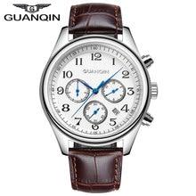 GUANQIN GQ25 Fashion Mens Watches Top Brand Luxury 24 Hours Date Clock Waterproof Men's Leather Quartz Watch Relogio Masculino