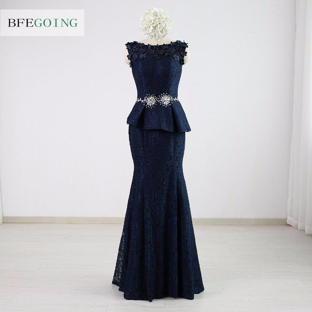Lace Mermaid Trumpet Formal Evening Dress Floor Length Sleeveless Scoop Crystal Beading Real Original Custom made