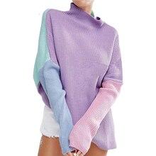 Women Sweater Winter Long Sleeve Patchwork Side Split Slim Pullover Sweater Basic Loose Streetwear Female Jumper