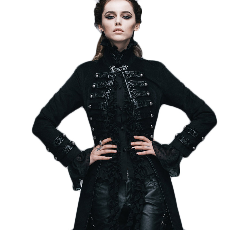 Punk Gothic Pattern Model Pallto Femra Pantallona të gjera Victorian, Visual Kei Flocking Coat Steampunk Slim Fit Outwear Jackets 2017