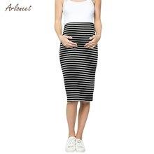 ARLONEET/ хлопковая юбка в Корейском стиле для беременных женщин, удобная юбка-карандаш в полоску с завышенной талией