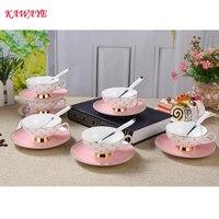 1 set KAWAYE pink Ceramic Bone china Coffee cup with Saucer Kit British Black Tea Cup Coffee cup set Free Shipping 7ZOP09