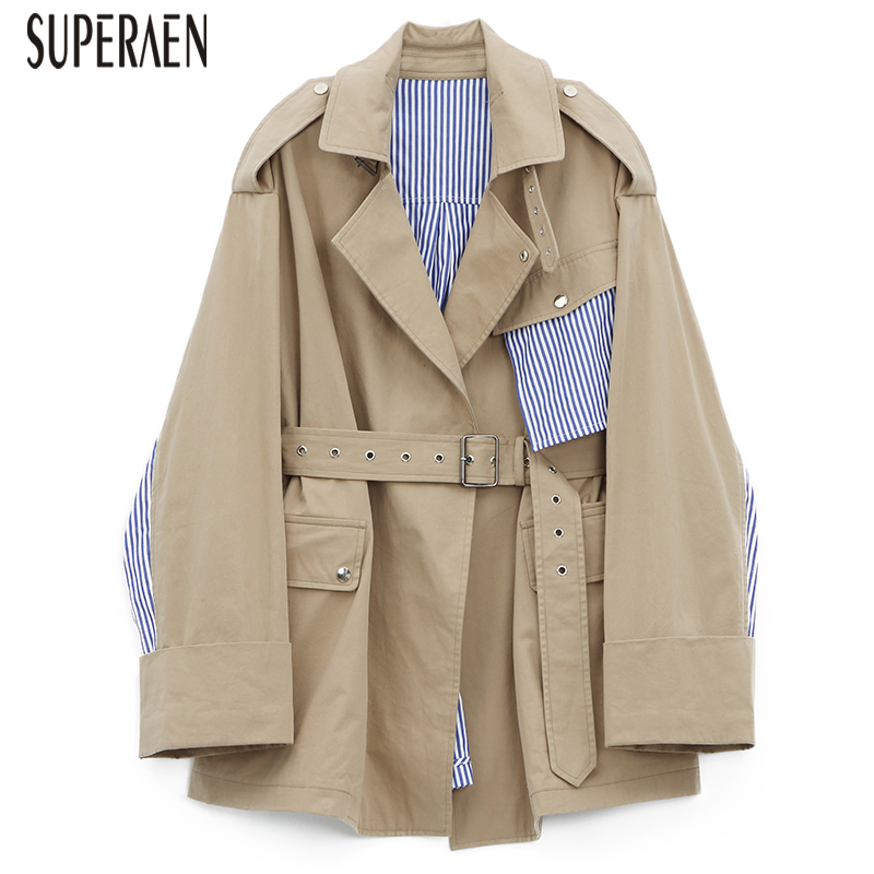 SuperAen Windbreaker Female 2018 New Striped Stitching Casual Cotton   Trench   Coat for Women Loose Fashion Wild Autumn Coats Women