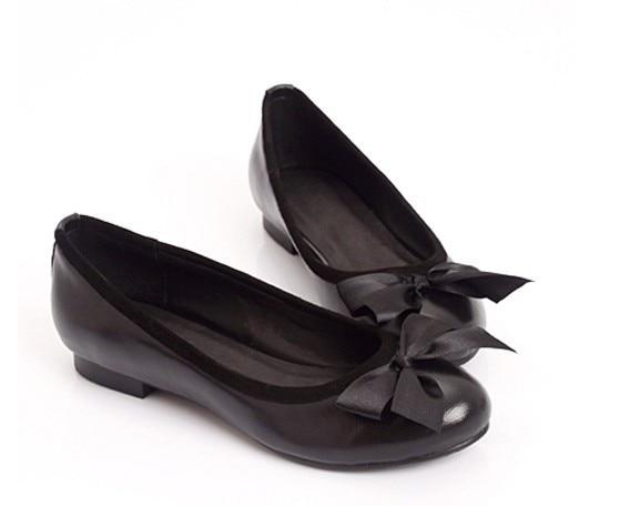 Cuña Lleno 15 Cómodo Tamaño Zapatos 4 Señoras Finos Genuino Cuero Puro Manual A Sholed Bowtie Grande Personalizado Flattie YwfqP