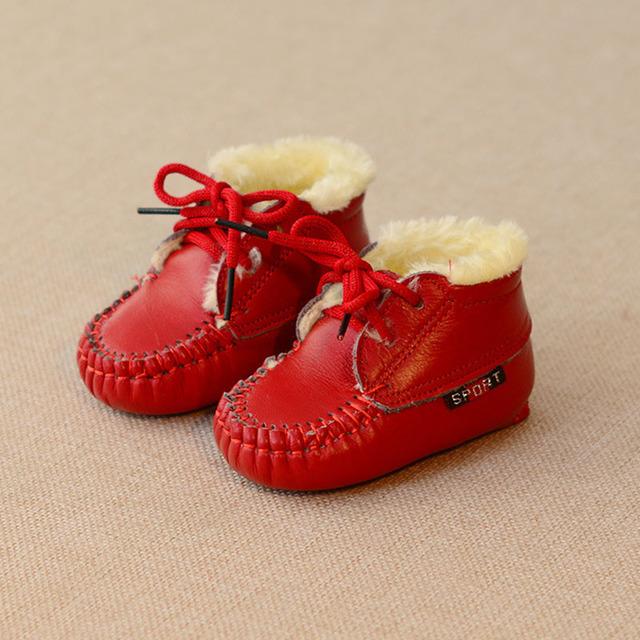2016 Nueva Llegada Del Otoño Del Invierno Del Bebé Botas Calientes Chicas Chicos Zapatos de Cuero Genuino Zapatos de Los Bebés Primeros Caminante Calzado