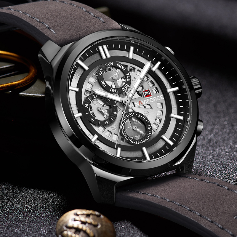 NAVIFORCE Unique design Hollow out dial Mens Watches Brand Luxury Waterproof 24 hour Date Quartz Leather Sport Wrist Watch Men