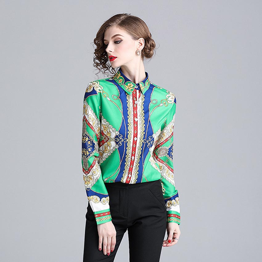 JKKFZY Women Autumn Print Shirt  Blouse Fashion Runway Elegant Long Sleeves Party  Shirt  Female Retro Office OL Style Top