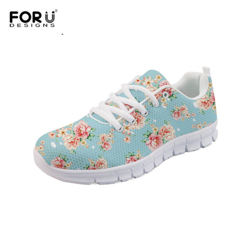 FORUDESIGNS Fashion Lace-up Sneakers Flowers Floral Pattern Women Casual Lightweight Flats Shoes Breathable Mesh Zapatos Mujer