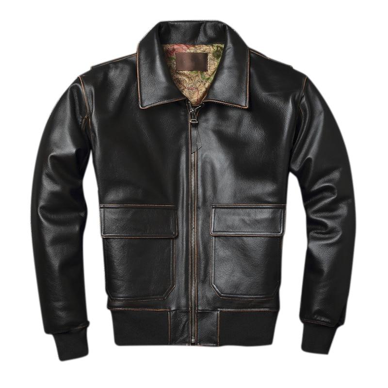 2019 Vintage marron hommes A2 pilote en cuir veste grande taille XXXXL carte véritable peau de vache militaire aviateur en cuir manteau livraison gratuite