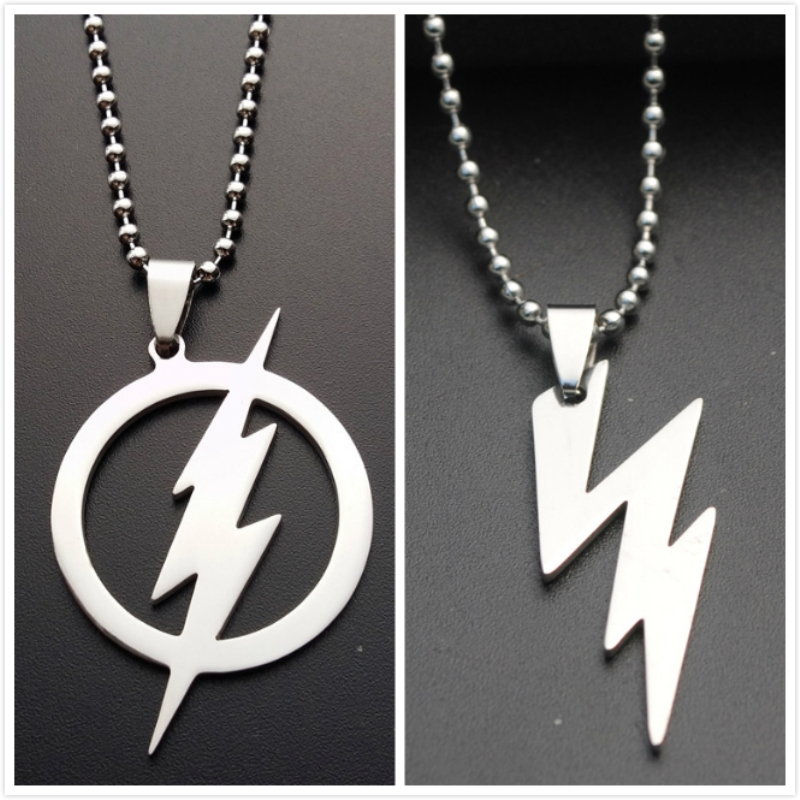 Silver Movie Jewelry THE FLASH DC SUPER HERO The Flash Lightning Logo Stainless Steel Chain Pendants Necklaces Men Women Jewelry