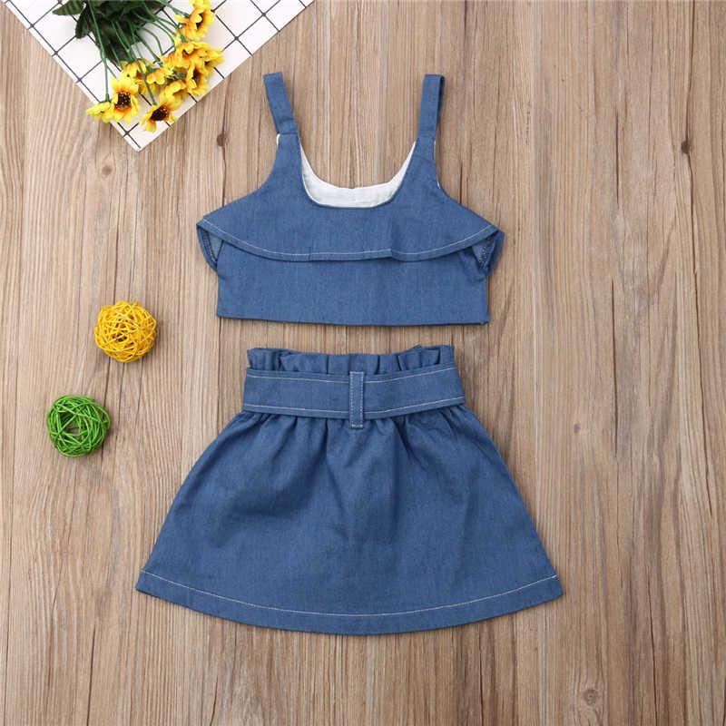 Lato maluch dzieci dziewczyny Denim niebieski pasek ubrania garnitur dzieci dziecko dziewczyna węzeł kamizelka topy szorty spódnice 2 sztuk stroje ubrania zestaw