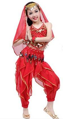 Nouveau vêtements de danse du ventre enfant ensemble de bonne qualité multi-couleur filles costume de danse indienne enfants costumes de performance de danse du ventre